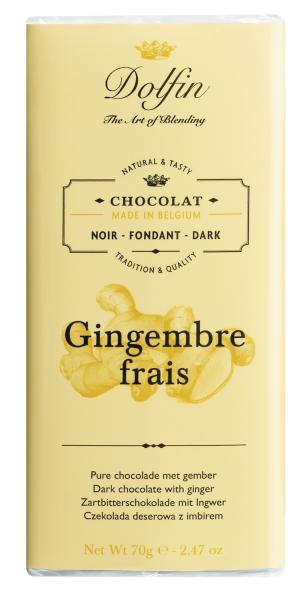 Dolfin Zartbitterschokolade mit frischem Ingwer