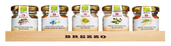 Brezzo Honig Geschenkset, Bio Apicoltura Brezzo, Italien Minigläser auf Holztablett